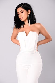 Miss Moody Jumpsuit - White Bar Outfits, Mode Outfits, Classy Outfits, Stylish Outfits, Vegas Outfits, Girls Fashion Clothes, Fashion Outfits, Woman Outfits, 21st Birthday Outfits