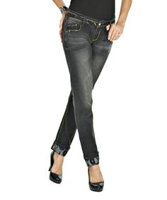 Loving this Black Lace Trim Straight-Leg Jeans - Women on #zulily! #zulilyfinds  $34,99