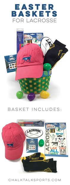 Surprise your lacrosse player this Easter with a lacrosse-themed Easter basket, filled with hand-picked goodies they'll love!
