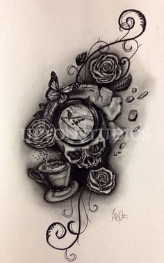 Large Custom Tattoo Design in Black and White on Etsy, $75.00