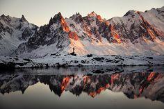 Chamonix Needles, reflected in Chesery Lake | Photographer: Alexandre Deschaumes - http://autumn-ethereal.deviantart.com