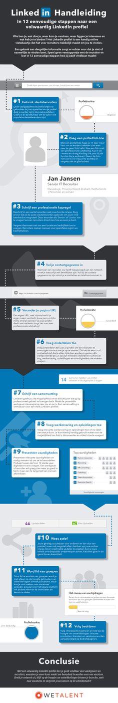 Een LinkedIn handleiding voor een perfect profiel in 12 eenvoudige stappen. Visueel weergegeven en voor iedereen begrijpbaar.