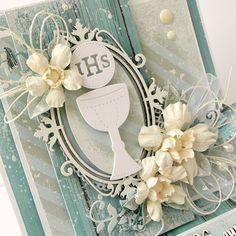 Blog Craft Passion: Kartka Komunijna / Communion Card First Communion Cards, Baby Cards, Cute Cards, Christening, Holi, Diy And Crafts, Greeting Cards, Martha Stewart, Biscuit