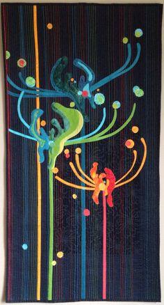 Spider Lilies, by Enid Gjelten Weichselbaum, Rochester, MN Quilting Projects, Quilting Designs, Fiber Art Quilts, Quilt Modernen, Flower Quilts, Textiles, Landscape Quilts, Contemporary Quilts, Applique Quilts