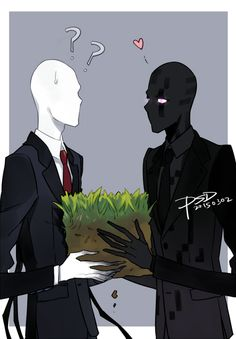 Slenderman from creepypasta vs Enderman from minecraft Slender Man, Creepypasta Slenderman, Creepy Pasta Family, Horror, Villainous Cartoon, Minecraft Art, Mine Minecraft, Jeff The Killer, Anime Crossover