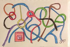 Rainbow Pipes Dream - Art-drawing. Small. Abstract. Pencil. Intersections. #Abstract