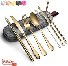Amazon.com | Portable Utensils Silverware Flatware set 8-Piece Cutlery set including Knife Fork Spoon Chopsticks Straws Portable bag for Travel Work Camping Picnic Stainless steel Utensil set (Gold Full): Serving Sets