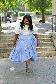 48d1b68155a12 Lifestyle blogger Sandee Joseph of CurvEnvy wearing ELOQUIIPinstripe Ruffle  Wrap Skirt