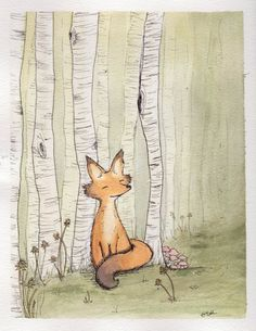 Woodland Fox Among Birch Forest Original Watercolor Illustration
