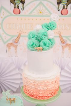 ADORABLE CAKE from this Vintage Peach and Mint Circus Party with Lots of Really Cute Ideas via Kara's Party Ideas Kara Allen KarasPartyIdeas.com #vintagecircusparty...