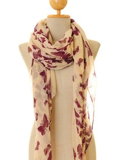 Butterfly Print Voile Infinity Scarf Summer by Tailored2Modesty