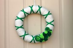 St. Patrick's Day Wreath - Holiday wreath - Green and White Yarn Wreath -Yarn Wrapped Wreath on Etsy, $39.00