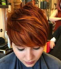 Red hair color describes your pixie haircut in a more nice way. Red color and pixie haircut always compliment each other and you can easily try it, to look. Red Hair Pixie Cut, Pixie Hair Color, Short Red Hair, Short Hair Cuts, Short Hair Styles, Red Pixie Haircut, Short Copper Hair, Copper Red Hair, Copper Bob