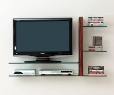 wall mount tv cabinet with glass shelves flat screen - Google Search