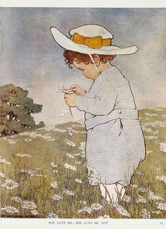 """She Lufs Me, She Lufs Me Not"" -- an illustration by Jessie Willcox Smith (American 1863 - 1935)"