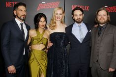 Netflix and Marvel held the Daredevil Season 2 premiere at New York City's AMC Lincoln Square 13 and the cast of the series assembled on the red carpet. Marvel Comic Universe, Marvel Cinematic Universe, Marvel Comics, Luke Cage Jessica Jones, Daredevil Season 2, Elodie Yung, Deborah Ann Woll, Jon Bernthal, Most Popular Memes