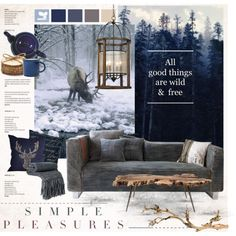 Wild & Free by nyrvelli on Polyvore featuring interior, interiors, interior design, home, home decor, interior decorating, denim and WOOD