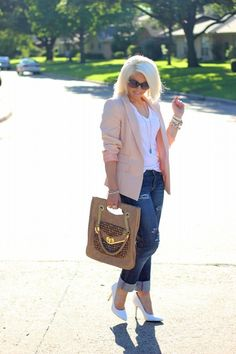 Pastel Blazer and Boyfriend Jeans, White Pumps