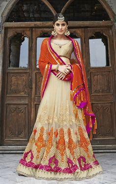 Charming Beige Designer Wedding Lehenga Choli
