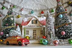 scene love streamer with ornaments and car with trees