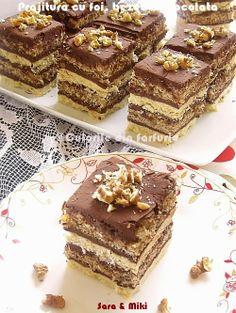 Pastry with cakes, meringues and chocolate Romanian Desserts, Romanian Food, Sweets Recipes, Baking Recipes, Cake Recipes, Kolaci I Torte, Diy Cake, Dessert Drinks, Mini Desserts
