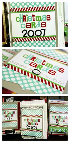 Christmas card books. Save all the Christmas cards you get and then make them into a little book each year. Includes the free printable cover. Love this idea!: