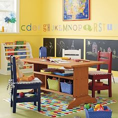 abc's and chalkboard wall! Exactly what I've been working on in the playroom! Love the multi colored chairs and storage under table. Need to find this set
