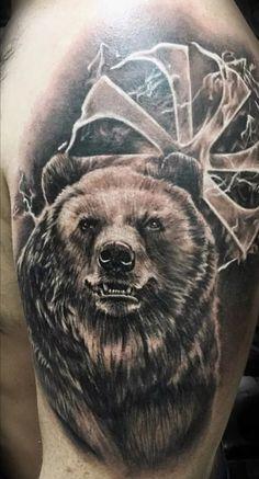 Nature Tattoo Sleeve, Nature Tattoos, Sleeve Tattoos, Celtic Tattoos, Wolf Tattoos, Animal Tattoos, Chicago Bears Tattoo, Tribal Bear Tattoo, Grizzly Bear Tattoos