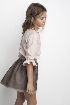 Sainte Claire . AW14 . powder pink shirt and brown skirt