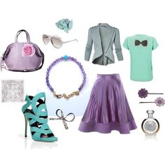 Lavender and Mint - Delicate casual or office outfit in pastel spring and summer tones - a perfumed lavender and lilac and a fresh mint, by riczkho Touch Of Gray, Green And Grey, Soft Summer Palette, Lavender, Lilac, Office Outfits, Wedding Colors, Teal, Purple