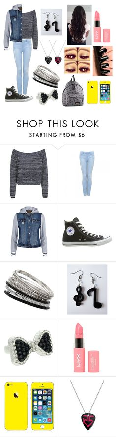 """Go to school.... #5"" by disapproval ❤ liked on Polyvore featuring Boohoo, Forever New, River Island, Converse, Wallis, Lipsy, NYX and Eastpak"