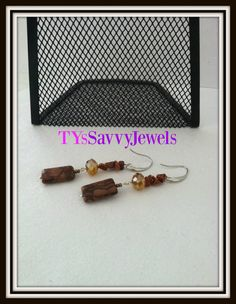 Jasper Semi Precious and Crystal Dangle Drop by TYsSavvyJewels