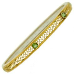 Krementz 14kt & Peridot Bangle Bracelet