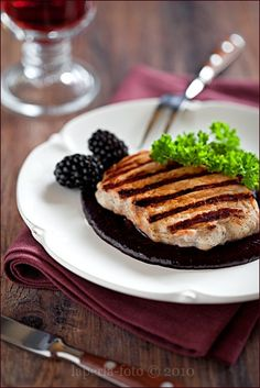 I adore pairing meat and fruit together, as in this lovely dish of Grilled Pork with Blackberry and Rosemary Jam (pork and peaches are another wonderful combo!). #food #cooking #jam #blackberries #meat #dinner #supper #fruit #grilled