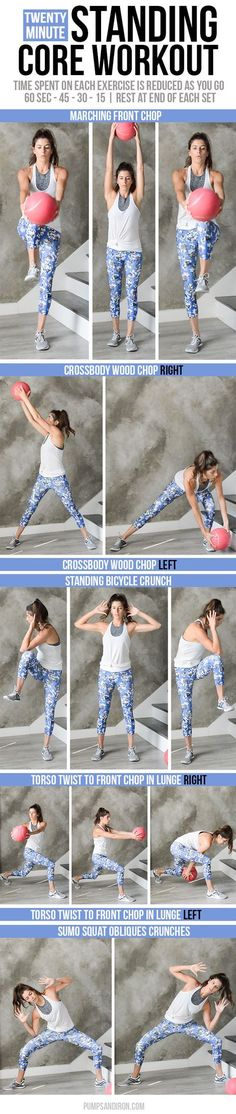 Standing Core Workout – no crunches needed! Standing Core Workout – no crunches needed! Fitness Motivation, Fitness Tips, Health Fitness, Exercise Motivation, Wellness Fitness, Standing Ab Exercises, Standing Abs, Core Exercises, Workout Exercises
