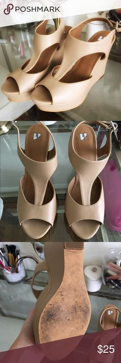 BP Nude Wedges BP Nude Wedges // Size 7 // Worn once to a girls night out -- Excellent condition!! // bp Shoes Wedges