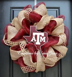 Texas A&M Aggie Wreath on Mesh and Burlap with Texas sign by Creations by Sara Jane at www.creationsbysarajane.etsy.com