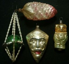 Antique german glass and beaded Czech christmas ornaments 4 PC lot