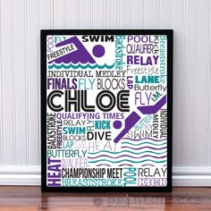 Competitive Swim Poster - Personalized Girls Swim Decor - Swim Team Prints - Sport Typography Print - Girls Swim Decor - Swimmer Decor – PrintChicks