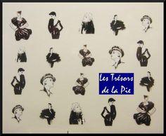 STICKERS ONGLES WATER DECAL (x19) - Nail art - Motif femmes - Noir & blanc