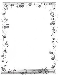 Many borders here Page Borders Design, Border Design, Borders For Paper, Borders And Frames, Music Border, Dj Inkers, Music Drawings, Music Worksheets, Music Crafts