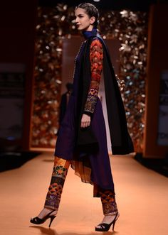 Navy blue trail cut suit with geometric embroidery