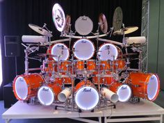 Pearl Drums - Orange Kit; Glowing Rims (2015) WOW WOW WOOOOOOOOOW!!!