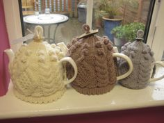 knitted tea cozies.