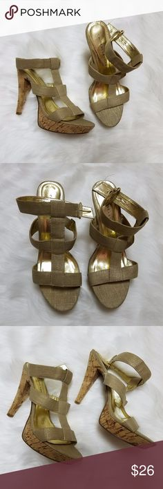 "Chinese Laundry gold t-strap heels Chinese Laundry gold t-strap heels. Excellent condition. Women's size 10M. 5"" heel, 1"" platform. Chinese Laundry Shoes Heels"