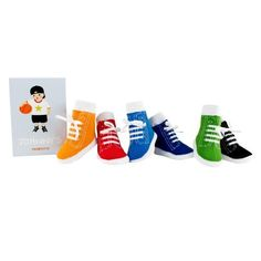 Trumpette Johnny's Socks Baby/Toddler Sizes (0-12 Months), Assorted Colors (616641356149) Six pairs of high top tennis shoe socks for boys, in a gift box. Colors: Black, Green, Blue, Navy, Orange, Red. Skid-resistant soles. Machine Washable/Dryable. Strechy cotton.