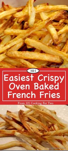 Here are the secrets to the best oven French fry ever. Tasty, crispy, healthy and did I say easy. via 101 Cooking for Two Easy Crispy Oven Baked French Fries Shana Reynolds Comfort Foods Here are the secrets to Oven Baked French Fries, Crispy Oven Fries, Crispy French Fries, French Fries Recipe, Homemade French Fries, Fries In The Oven, Recipe For Oven Fries, Homemade Fries In Oven, Best Fries Recipe