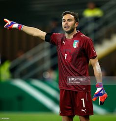 Goalkeeper Francesco Bardi of Italy gestures during the U21 International friendly match between...