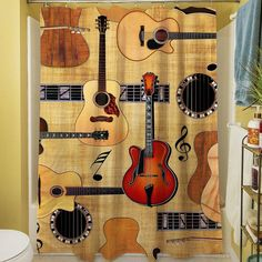 Features:  -Guitar Collage collection.  -Material: 100% Polyester.  -Easy care machine wash and dry.  -Printed in the USA.  Product Type: -Shower curtain.  Color: -Multi-colored.  Material: -Polyester