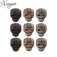 Xinyao 2 pcs / lot copper gold color lot beads metal skull charm beads zircon crystal beads spacer for jewelry bracelet make f5457